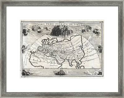1700 Cellarius Map Of Asia Europe And Africa According To Strabo Framed Print by Paul Fearn