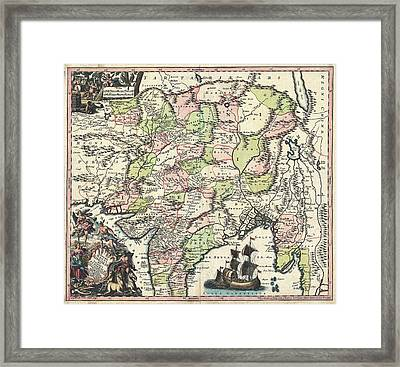 1700 Map Of India Framed Print