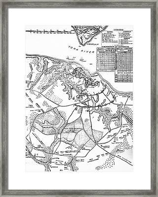 1700s 1770s 1781 Map Of Hampton Roads Framed Print