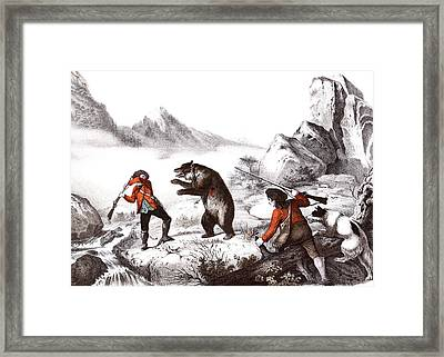 1700s 1800s Wounded Bear Attacking Man Framed Print
