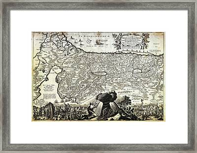 1702 Visscher Stoopendaal Map Of Israel Palestine Or The Holy Land  Framed Print