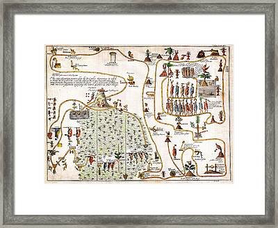 1704 Gemelli Map Of The Aztec Migration From Aztlan To Chapultapec Framed Print by Celestial Images