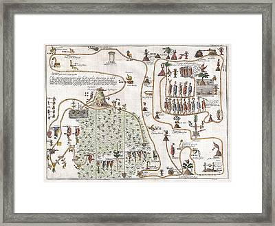 1704 Gemelli Map Of The Aztec Migration From Aztlan To Chapultapec Framed Print by Paul Fearn