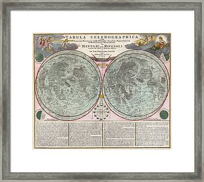 1707 Homann And Doppelmayr Map Of The Moon  Framed Print by Paul Fearn