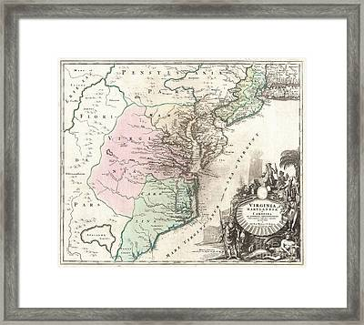 1715 Homann Map Of Carolina Virginia Maryland And New Jersey Framed Print