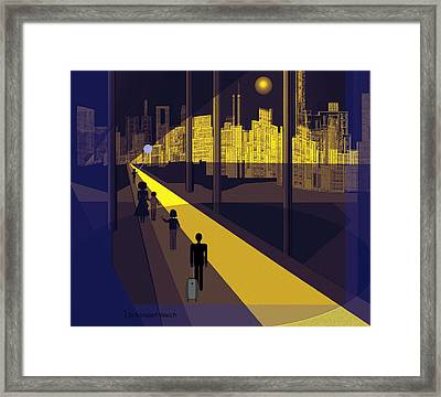 172 -  Nightwalking To The Golden City  Framed Print by Irmgard Schoendorf Welch