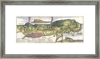 1720 De La Feuille Map And View Of Gibraltar Framed Print by Paul Fearn