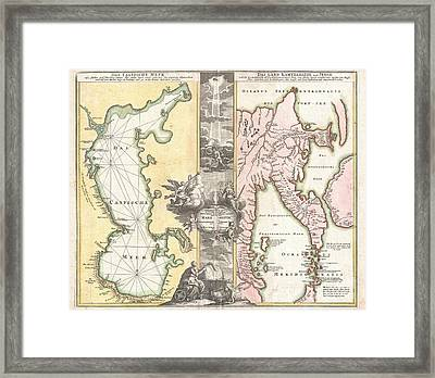 1725 Homann Map Of The Caspian Sea And Kamchatka Framed Print by Paul Fearn