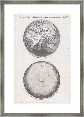 1728 Calmet Map Of The Ancient World Showing The Creation Of The Universe  Framed Print