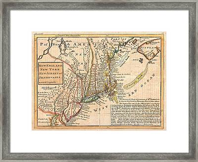 1729 Moll Map Of New York New England And Pennsylvania  Framed Print