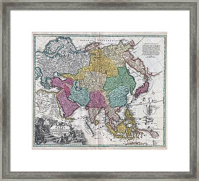 1730 C Homann Map Of Asia  Framed Print