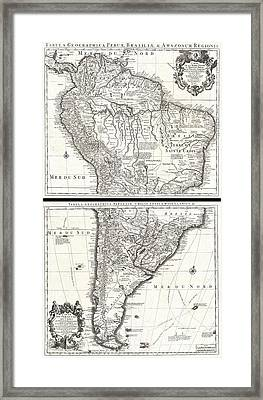 1730 Covens And Mortier Map Of South America Framed Print by Paul Fearn