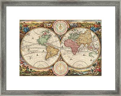 1730 Stoopendaal Map Of The World In Two Hemispheres  Framed Print by Paul Fearn