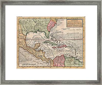 1732 Herman Moll Map Of The West Indies And Caribbean Framed Print by Paul Fearn
