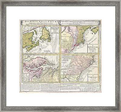 1737 Homann Heirs Map Of New England Georgia And Carolina And Virginia And Maryland Framed Print