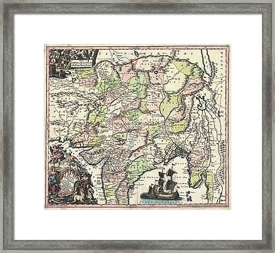 1740 Seutter Map Of India Pakistan Tibet And Afghanistan Framed Print