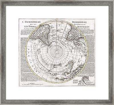 1741 Covens And Mortier Map Of The Southern Hemisphere South Pole Antarctic Framed Print