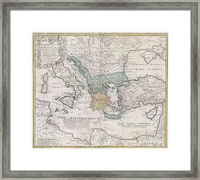 1741 Homann Heirs Map Of Ancient Greece  The Eastern Mediterranean Framed Print