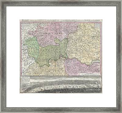 1741 Homann View And Map Of London Framed Print by Paul Fearn