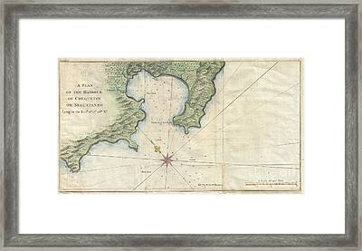 1745 Anson Map Or Chart Of Zihuatanejo Harbor Mexico Framed Print by Paul Fearn