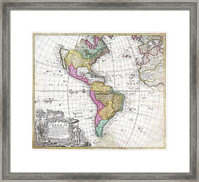 1746 Homann Heirs Map Of South And North America Framed Print by Paul Fearn