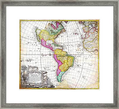 1746 Homann Heirs Map Of South North America Geographicus Americae Hmhr 1746 Framed Print