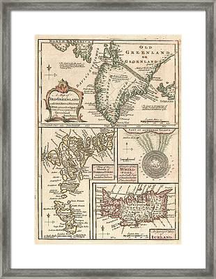 1747 Bowen Map Of The North Atlantic Islands Greenland Iceland Faroe Islands Framed Print by Paul Fearn