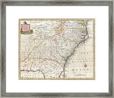 1747 Bowen Map Of The Southeastern United States Carolina Georgia Florida Framed Print by Paul Fearn