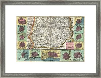 1747 La Feuille Map Of Catalonia Spain Framed Print