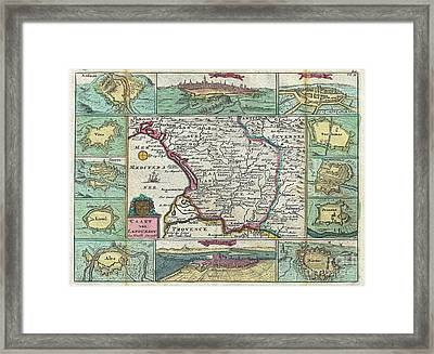 1747 La Feuille Map Of Languedoc France Framed Print by Paul Fearn