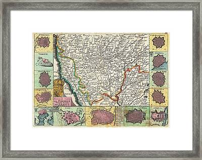 1747 La Feuille Map Of Piedmont Italy Framed Print