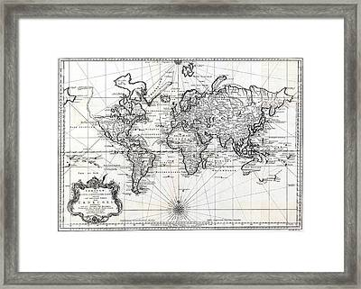 1748 Antique World Map Versuch Von Einer Kurzgefassten Karte  Framed Print by Karon Melillo DeVega