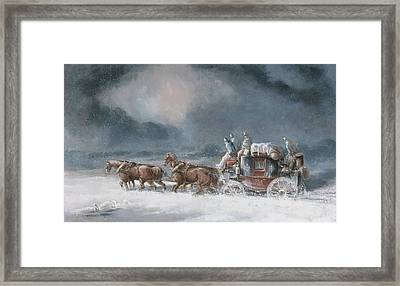 Mail Coach In A Snowstorm Framed Print by MotionAge Designs
