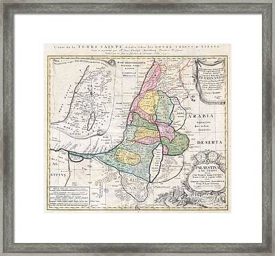 1750 Homann Heirs Map Of Israel  Palestine Holy Land  Framed Print