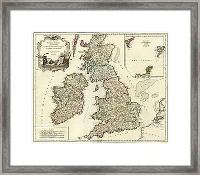 1754 British Isles Vintage Map Print Framed Print by Helena Kay