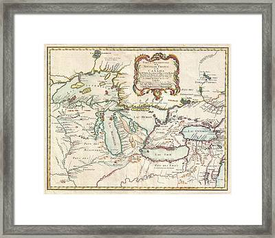 1755 Bellin Map Of The Great Lakes Framed Print by Paul Fearn