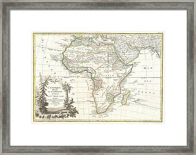 1762 Janvier Map Of Africa Framed Print by Paul Fearn