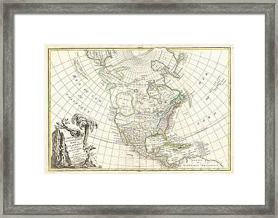 1762 Janvier Map Of North America  Framed Print by Paul Fearn