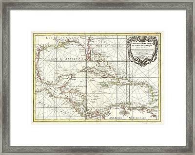 1762 Zannoni Map Of Central America And The West Indies Framed Print