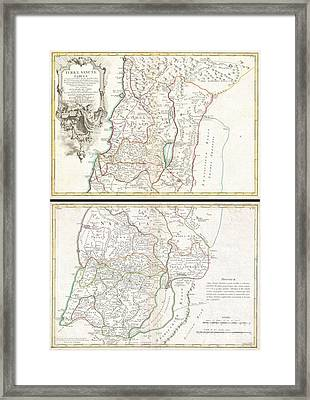 1763 De Lisle Map Of The Holy Land Framed Print by Paul Fearn