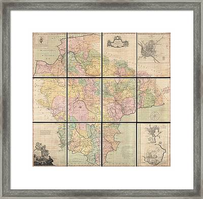 1765 Benjamin Donn Wall Map Of Devonshire And Exeter England Framed Print