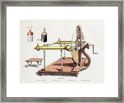 1768 Electrostatic Generator Leyden Jar Framed Print by Paul D Stewart