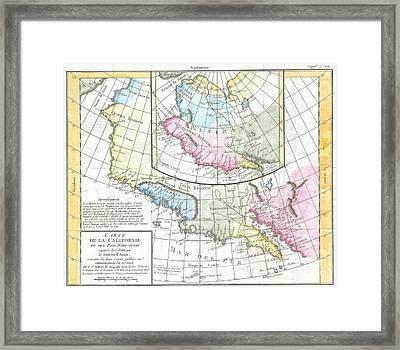 1768 Vaugondy Map Of California And Alaska Framed Print