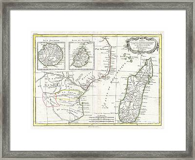 1770 Bonne Map Of East Africa Madagascar Isle Bourbon And Mauritius Framed Print by Paul Fearn