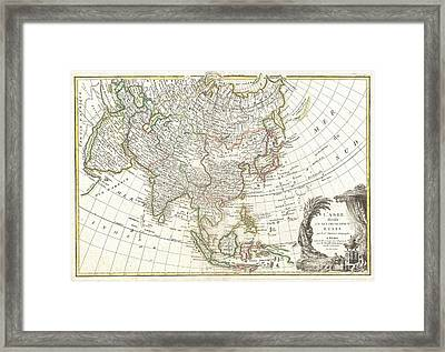 1770 Janvier Map Of Asia Framed Print by Paul Fearn