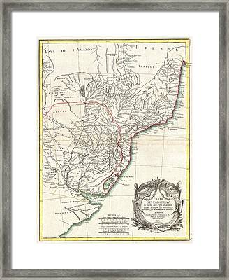1771 Bonne Map Of Paraguay Uruguay And Brazil Framed Print by Paul Fearn