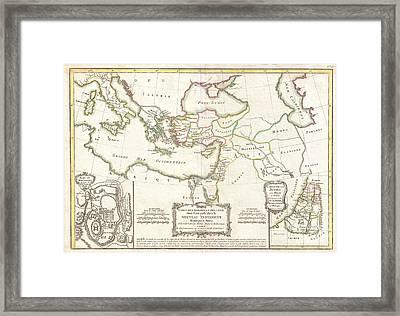1771 Bonne Map Of The New Testament Lands Holy Land And Jerusalem Framed Print