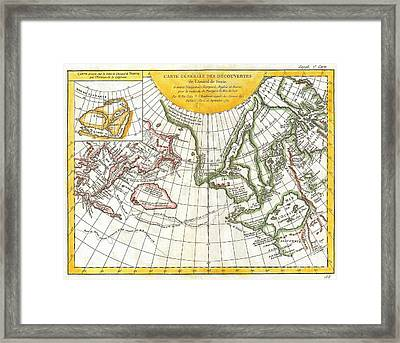 1772 Vaugondy And Diderot Map Of The Pacific Northwest And The Northwest Passage Framed Print by Paul Fearn