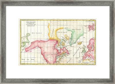 1772 Vaugondy And Diderot Map The North America Illustrating Clunys Voyages Framed Print by Paul Fearn