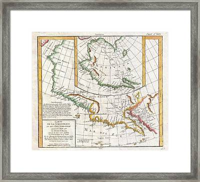1772 Vaugondy  Diderot Map Of California And Alaska  Anian And Quivira  Framed Print by Paul Fearn